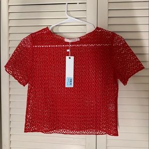 cropped red mesh top